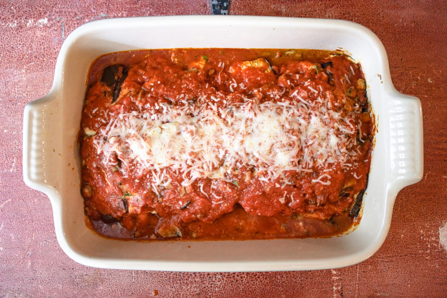 Chicken sausage and eggplant lasagna